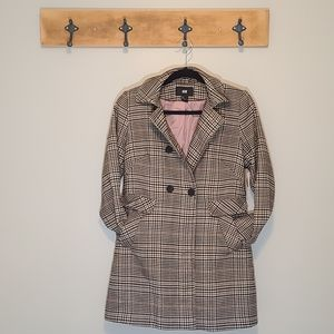 H&M Vintage Micro Houndstooth Button Closure Coat